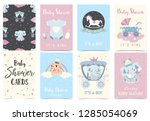 pink blue baby shower... | Shutterstock .eps vector #1285054069