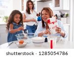 young girl making a cake in the ... | Shutterstock . vector #1285054786