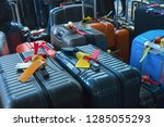 suitcase or luggage with... | Shutterstock . vector #1285055293