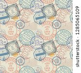 seamless pattern with visa... | Shutterstock .eps vector #1285065109