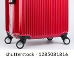 premium red travel suitcase... | Shutterstock . vector #1285081816