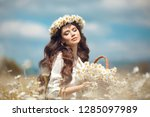 beautiful young girl with... | Shutterstock . vector #1285097989