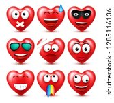 heart smiley emoji vector set... | Shutterstock .eps vector #1285116136