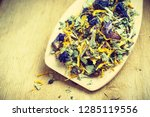 pile of mixed natural medical... | Shutterstock . vector #1285119556
