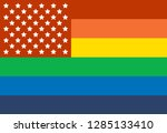 rainbow flag with added star... | Shutterstock .eps vector #1285133410