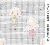 cute little girl vector... | Shutterstock .eps vector #1285147426