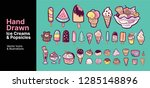 hand drawn vector ice creams... | Shutterstock .eps vector #1285148896