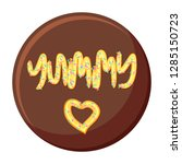 chocolate vector cake with... | Shutterstock .eps vector #1285150723