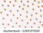 cane refined sugar cubes on... | Shutterstock . vector #1285157020