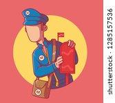 mailman standing near a mailbox ... | Shutterstock .eps vector #1285157536