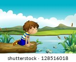 illustration of a young boy... | Shutterstock .eps vector #128516018