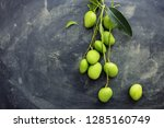 whole small wild green mangoes... | Shutterstock . vector #1285160749