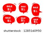 set of red sale icon banners in ... | Shutterstock .eps vector #1285160950