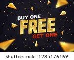 buy one get one free on dark... | Shutterstock .eps vector #1285176169