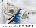 transportation  winter  weather ... | Shutterstock . vector #1285176799