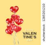 silver ribbon. balloon 3d...   Shutterstock .eps vector #1285201210