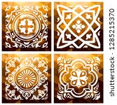 floral gold mosaic tile. vector ... | Shutterstock .eps vector #1285215370