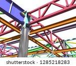 bim model of metal structure.... | Shutterstock . vector #1285218283