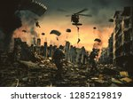 helicopter and forces in... | Shutterstock . vector #1285219819