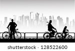 cycling in the park | Shutterstock .eps vector #128522600