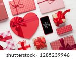 valentine's day greeting card...   Shutterstock . vector #1285239946