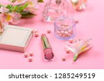 cosmetics for makeup on pink... | Shutterstock . vector #1285249519