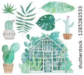 greenhouses watercolor objects... | Shutterstock . vector #1285283533