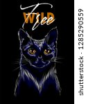 wild and free slogan with cat... | Shutterstock .eps vector #1285290559