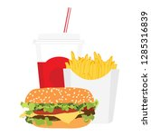 fast food meal with french...   Shutterstock .eps vector #1285316839