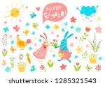 happy easter vector set. cute...   Shutterstock .eps vector #1285321543