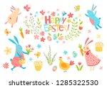 happy easter vector set. cute...   Shutterstock .eps vector #1285322530