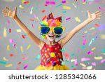 funny kid clown with pper... | Shutterstock . vector #1285342066