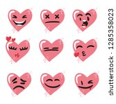 set of pink heart emoji.... | Shutterstock .eps vector #1285358023