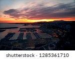 last rays of sunset sun in the...   Shutterstock . vector #1285361710