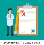 doctor writing rx medical... | Shutterstock .eps vector #1285364416