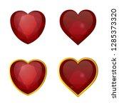 vector set of heart form rubies ... | Shutterstock .eps vector #1285373320