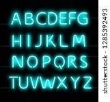 neon glowing text alphabet.... | Shutterstock .eps vector #1285392493