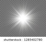 white beautiful light explodes... | Shutterstock .eps vector #1285402780