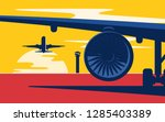 takeoff. flat style vector... | Shutterstock .eps vector #1285403389