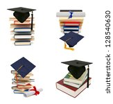 collection grad hat and diploma ... | Shutterstock . vector #128540630