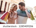 beautiful young loving couple...   Shutterstock . vector #1285409206