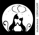 romantic meeting of cats vector ... | Shutterstock .eps vector #1285416289