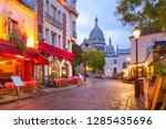 the place du tertre with tables ... | Shutterstock . vector #1285435696