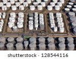 lines of drums for oil | Shutterstock . vector #128544116