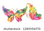 Stock vector abstract multicolored butterfly of patterns vector 1285456570
