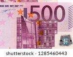 Obverse side of Euro Zone banknotes of 500 Euros. Horizontal macro close-up view. - stock photo