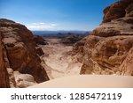 hiking trail in the desert... | Shutterstock . vector #1285472119