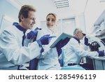 be attentive. pleased female...   Shutterstock . vector #1285496119