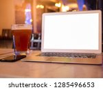 blank screen laptop with phone... | Shutterstock . vector #1285496653