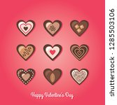 valentine's day chocolate candy ... | Shutterstock .eps vector #1285503106